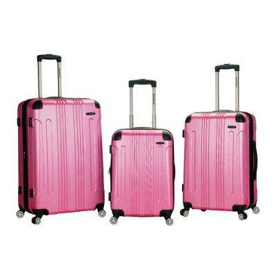 Rockland Sonic 3-Piece Hardside Spinner Luggage Set, Pink