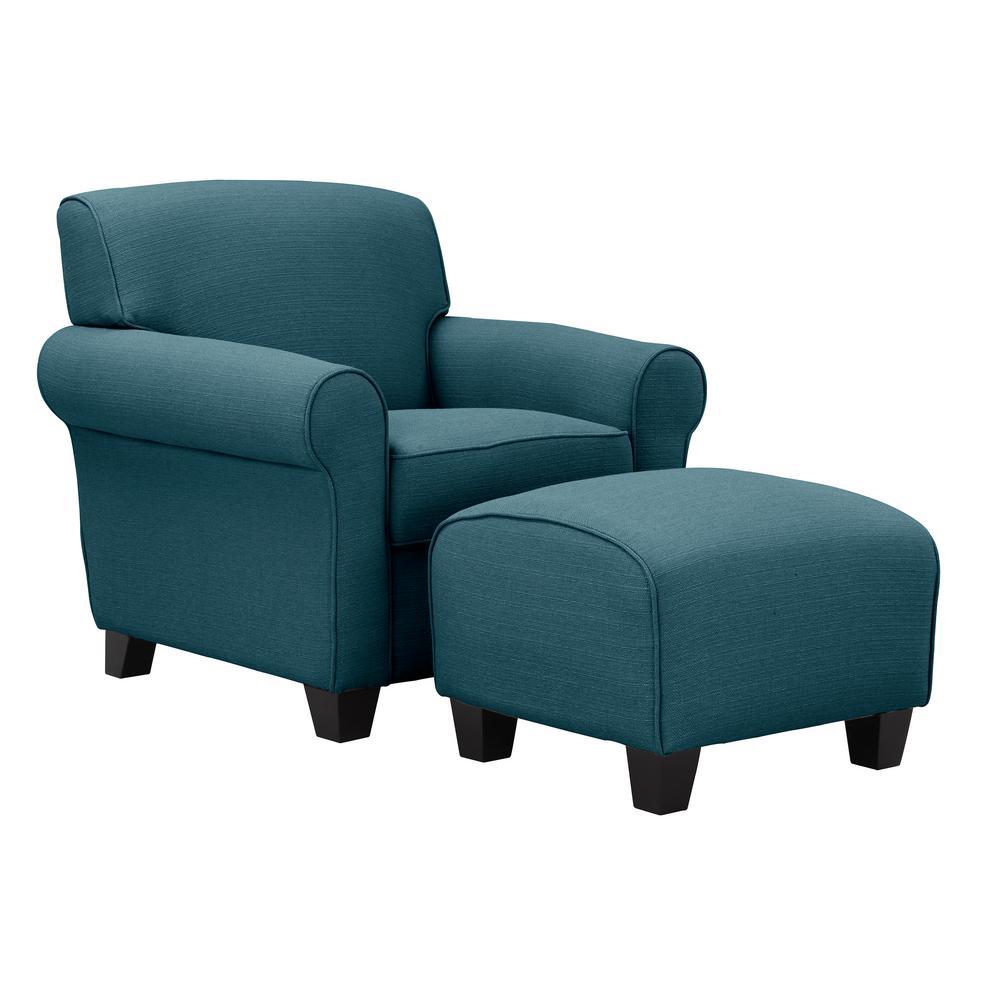 Winnetka Arm Chair and Ottoman in Caribbean Blue Linen