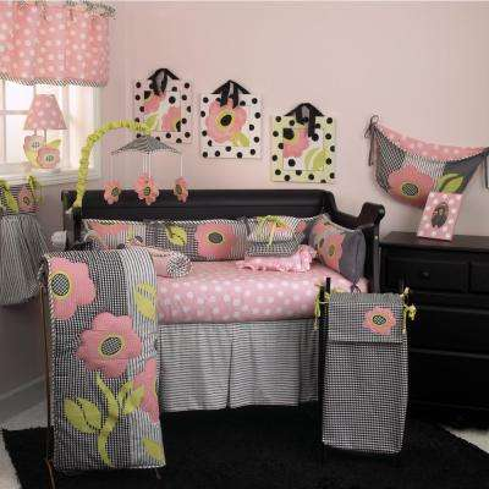 Poppy Pink Floral 4-Piece Crib Bedding Set
