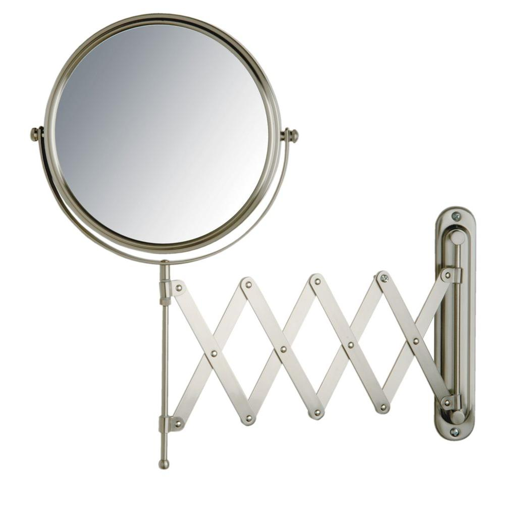 Jerdon 16 in x 9 in wall mount mirror in matte nickel for Wall mounted mirror