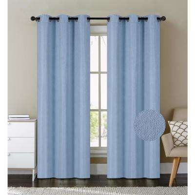 Cambridge 84 in. Blue Polyester Heavy Blackout Textured Fabric Grommet Window Curtain Panel (2-Pack)