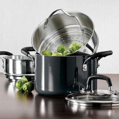 Gourmet 3 Qt. Nonstick Aluminum Multi-Cooker with Steamer Basket and Double-Boiler in Charcoal Gray