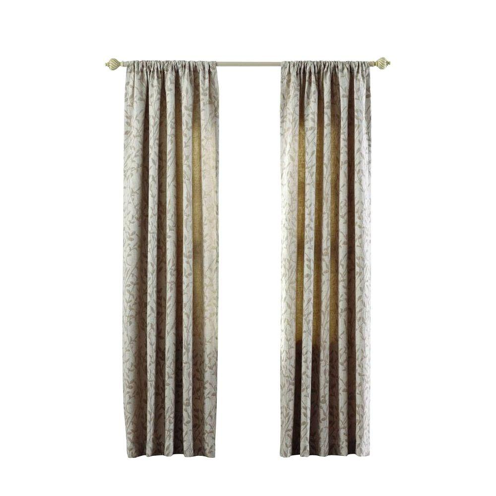 Home Decorators Collection Semi Opaque Khaki Morning Tide Rod Pocket Curtain 50 In W X 63 In