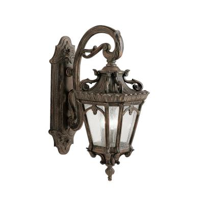 Tournai 3-Light Londonderry Outdoor Wall Mount Sconce with Clear Seeded Glass