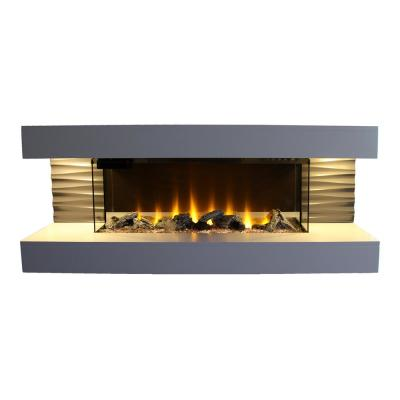 Contemporary Series 44 in. Wall Mounted Infrared Electric Fireplace in Off White with Color Ember Bed and Remote Control