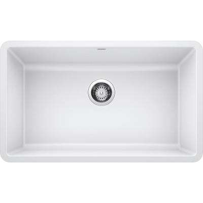 PRECIS Undermount Granite Composite 32 in. Single Bowl Kitchen Sink in White