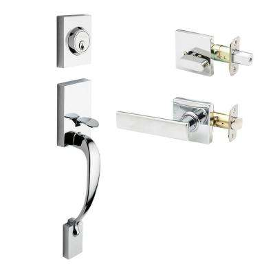 Craftsman Polished Stainless Door Handleset with Craftsman Lever Trim