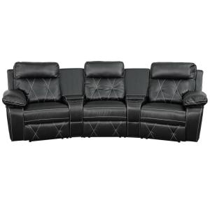 Reel Comfort Series 3 Seat Reclining Black Leather Theater Seating Unit With Curved Cup Holders
