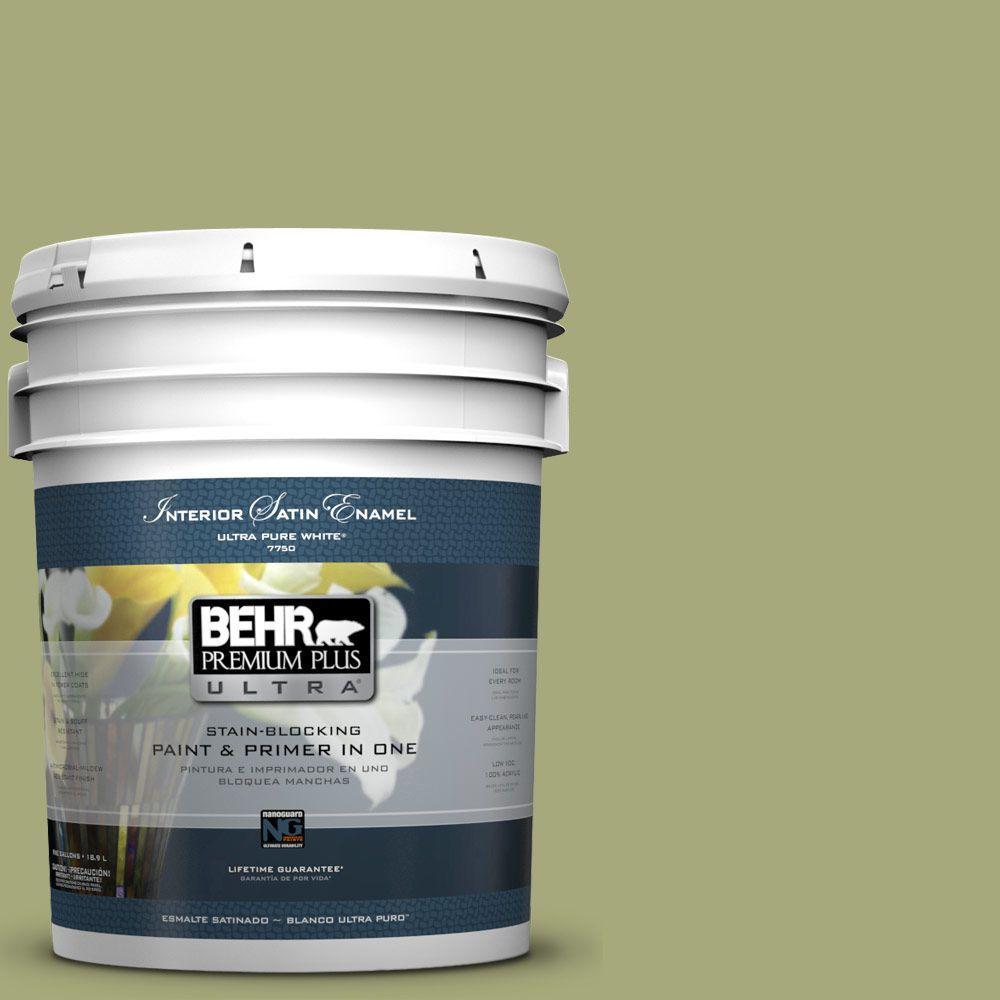 BEHR Premium Plus Ultra 5-gal. #M350-5 Mossy Cavern Satin Enamel Interior Paint