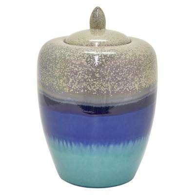 14 in. Blue Ceramic Jar with Lid