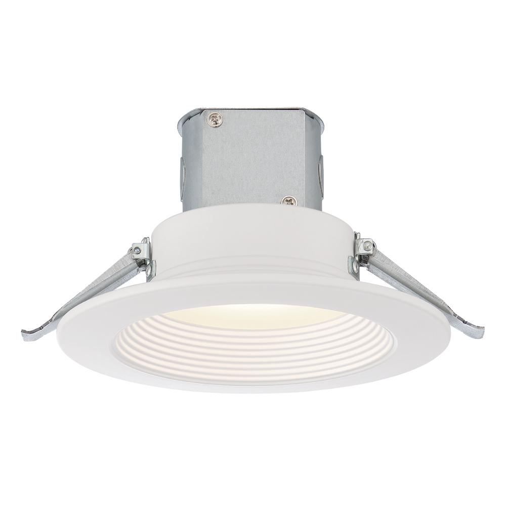 EnviroLite Easy-Up 6 in. White Baffle Recessed Integrated LED Kit at 93.5 CRI, 3000K, 859 Lumens