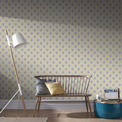 Trifina Geo Yellow, Grey and Silver Removable Wallpaper