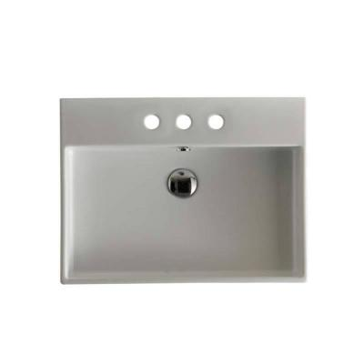 Unlimited 60 Wall Mount / Vessel Bathroom Sink in Ceramic White with 3 Faucet Holes