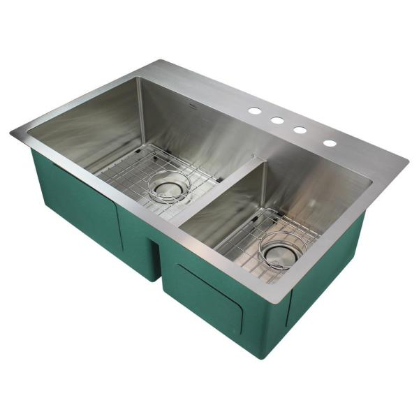 Diamond Dual Mount Stainless Steel 33 in. 4-Hole Double Offset Bowl Kitchen Sink in Brushed Finish