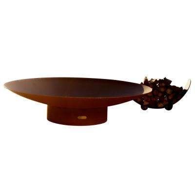 Asia 72 in. Carbon Steel Fire Pit in Iron Oxide with Brass Burner Lava Rock Flex Line Kit and Plate