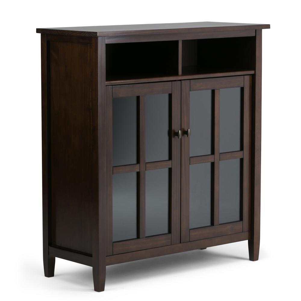 Warm Shaker Solid Wood 39 in. Wide Rustic Medium Storage Media Cabinet in Tobacco Brown