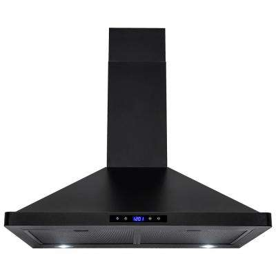 30 in. Convertible Kitchen Wall Mount Range Hood with Lights in Stainless Steel with Black Finish