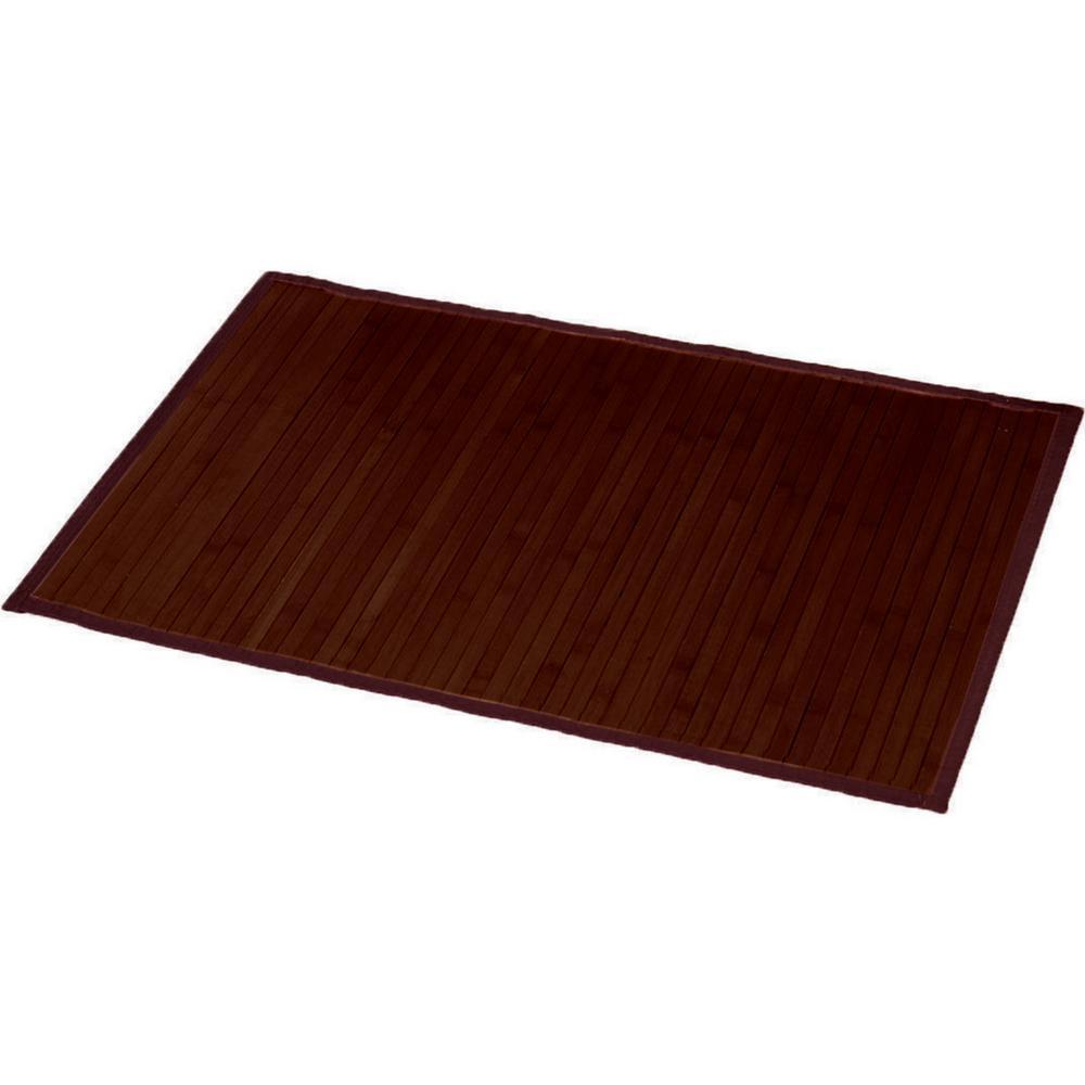 Brown 31.5 in. L x 20 in. W Bamboo Rug Bath Mat Anti Slippery