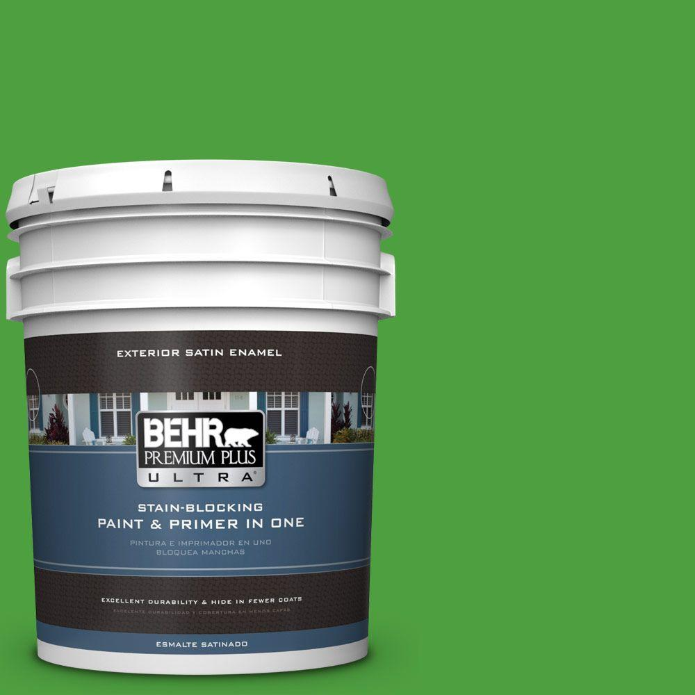 BEHR Premium Plus Ultra 5-gal. #S-G-440 Green Acres Satin Enamel Exterior Paint