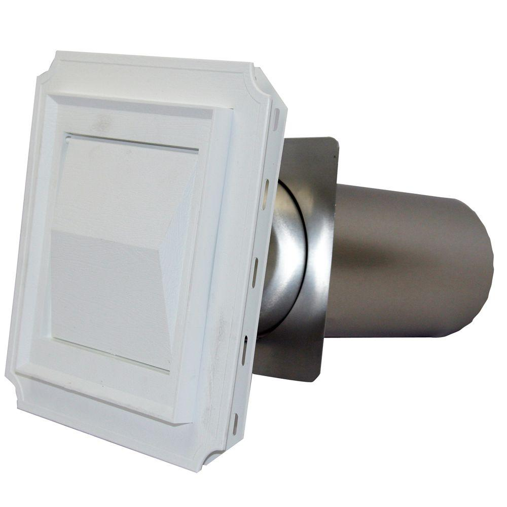 Speedi-Products 4 In. J Block Vent Hood In White With 11 In. Tail Pipe For Brick, Siding And