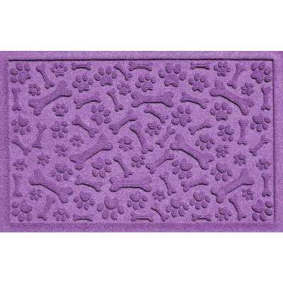 Aqua Shield Paws and Bones Purple 17.5 in. x 26.5 in. Pet Mat
