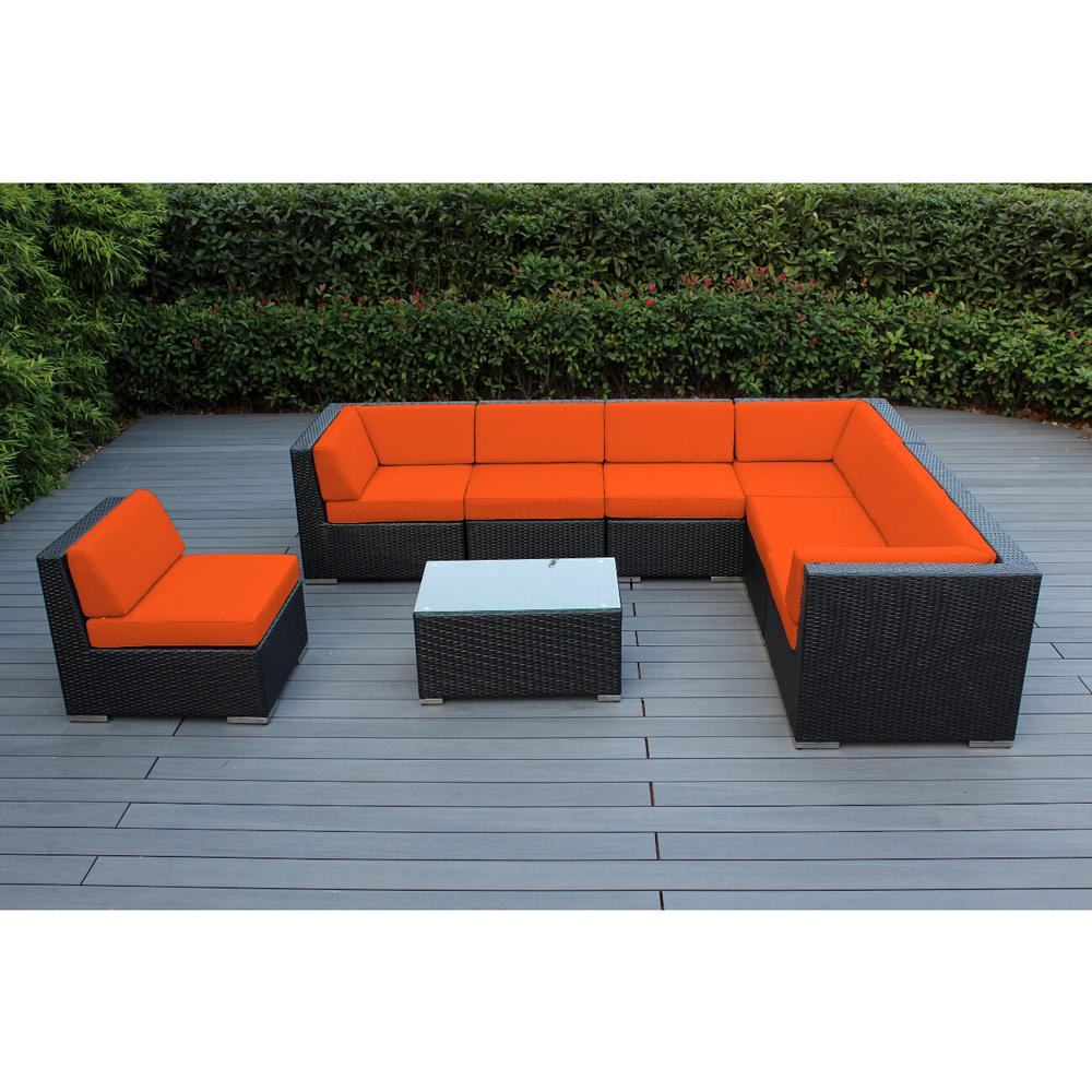 Ohana Depot Ohana Black 8-Piece Wicker Patio Seating Set with Spuncrylic Orange Cushions