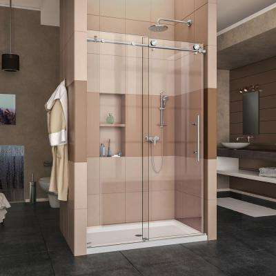 Enigma-X 44 in. to 48 in. x 76 in. Frameless Sliding Shower Door in Polished Stainless Steel