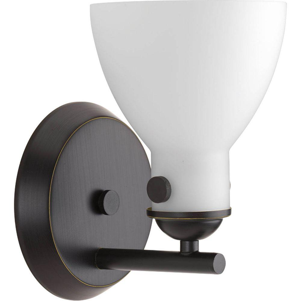 Progress Lighting Fuller Collection 1-Light Antique Bronze Bath Sconce with Etched Opal Glass Shade