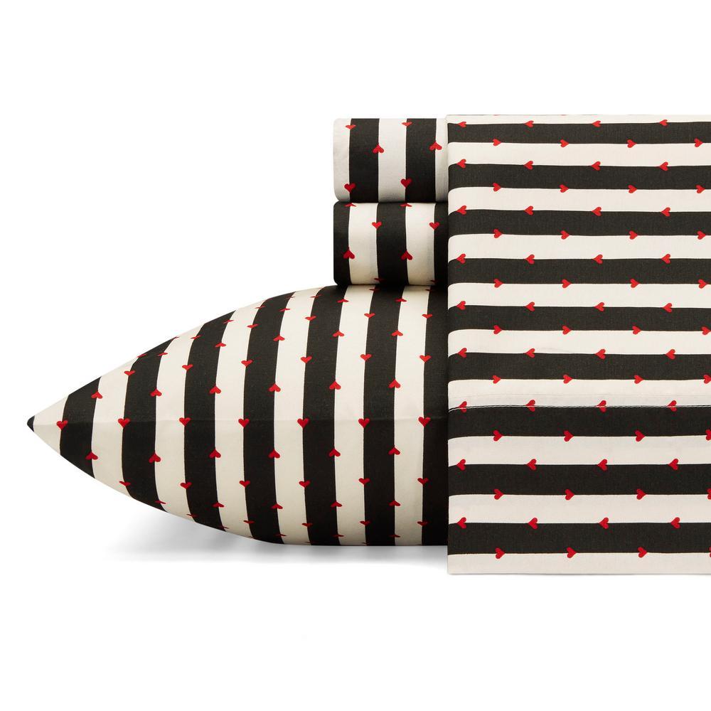 Wonderland Stripe Black 4-Piece Microfiber Sheet Set, King