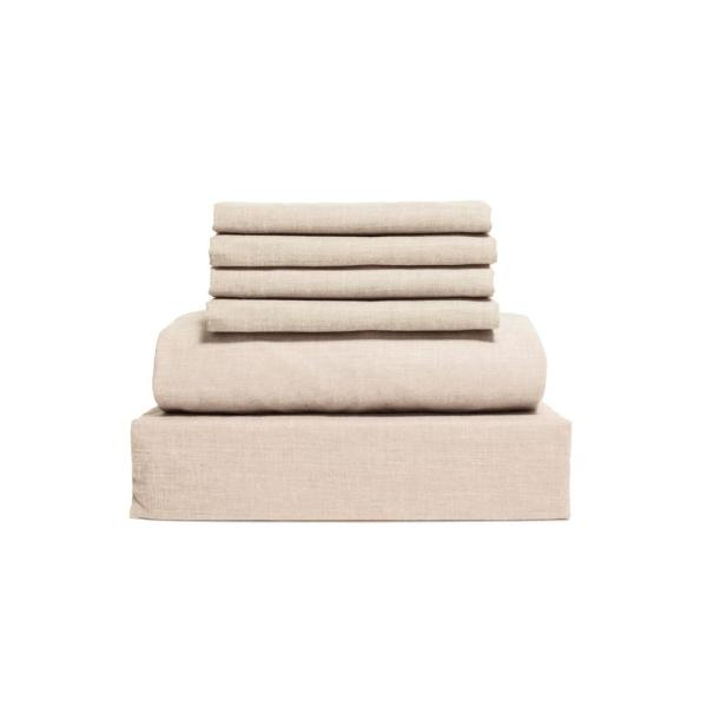 Lintex Chambray 6-Piece Oatmeal Cotton/Polyester Queen Sheet Set 435911