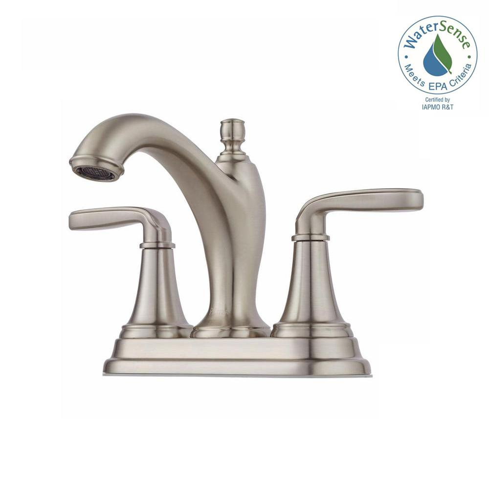 Pfister Northcott 4 In Centerset 2 Handle Bathroom Faucet In Brushed Nickel Lg48 Mg0k The Home Depot