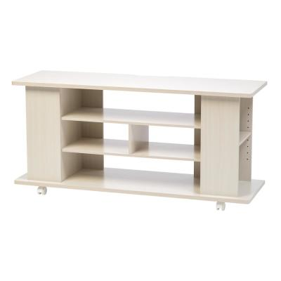 15 in. Off-White Wood TV Stand Fits TVs Up to 50 in. with Cable Management