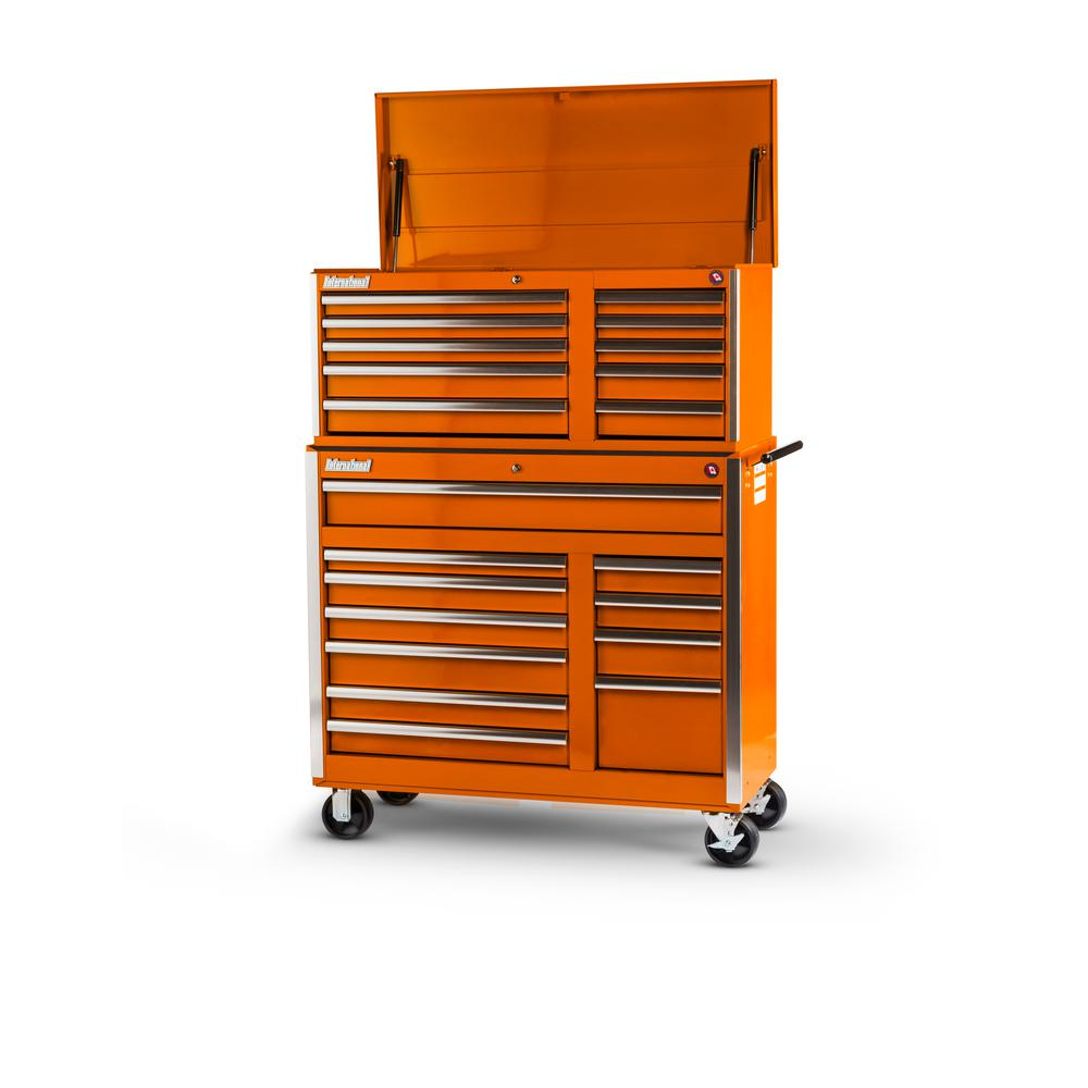 Tech Series 42 in. 21-Drawer Tool Chest and Cabinet Combo Orange