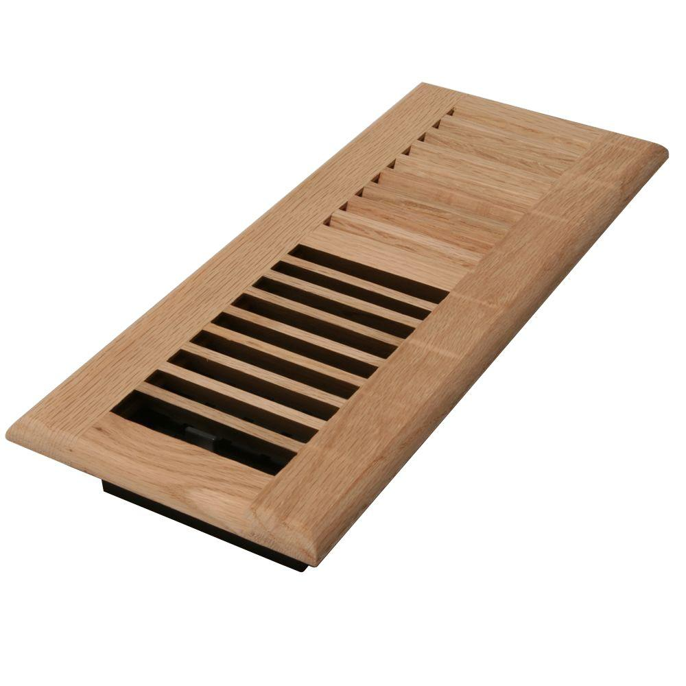 Decor grates 4 in x 12 in wood unfinished oak register for Decor grates