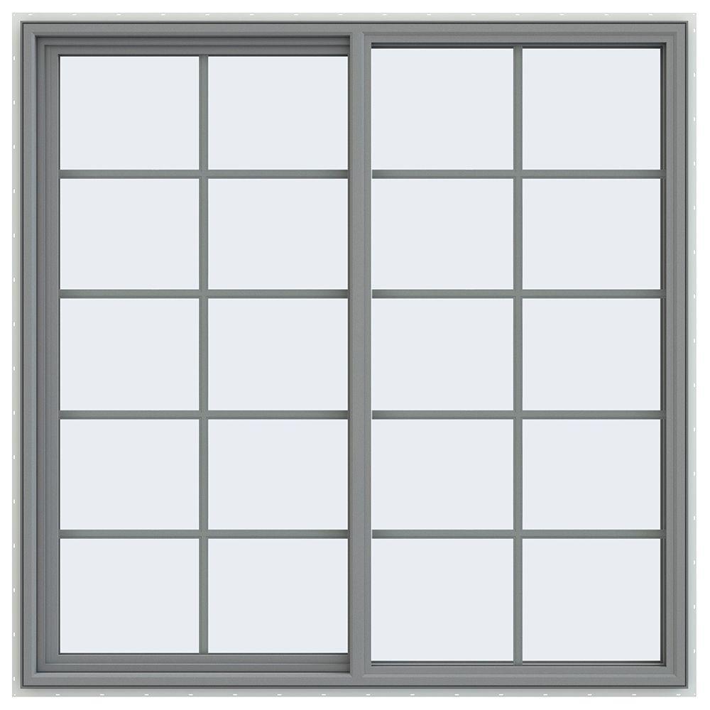JELD-WEN 59.5 in. x 59.5 in. V-4500 Series Left-Hand Sliding Vinyl Window with Grids - Gray