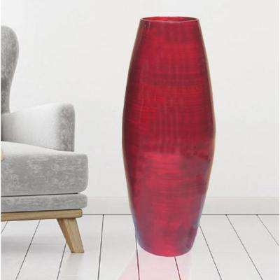 27.5 in. Red Tall Bamboo Decorative Floor Vase