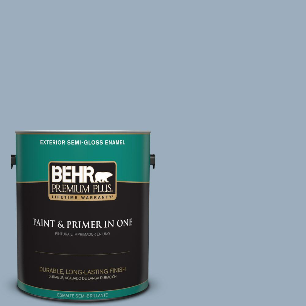 1-gal. #560F-4 Russian Blue Semi-Gloss Enamel Exterior Paint