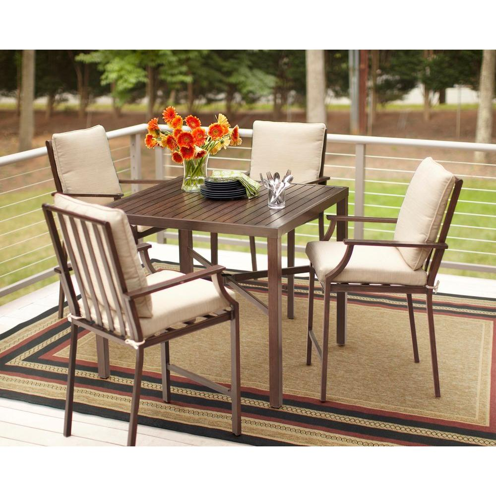 Hampton Bay Millstone 5-Piece Patio High Dining Set with Desert Sand Cushions