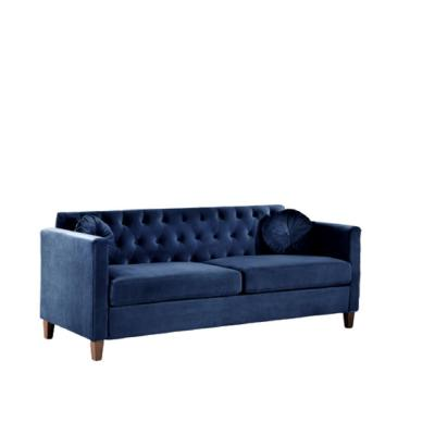Lory 79.5 in. Dark Blue Velvet 3-Seater Lawson Sofa with Square Arms