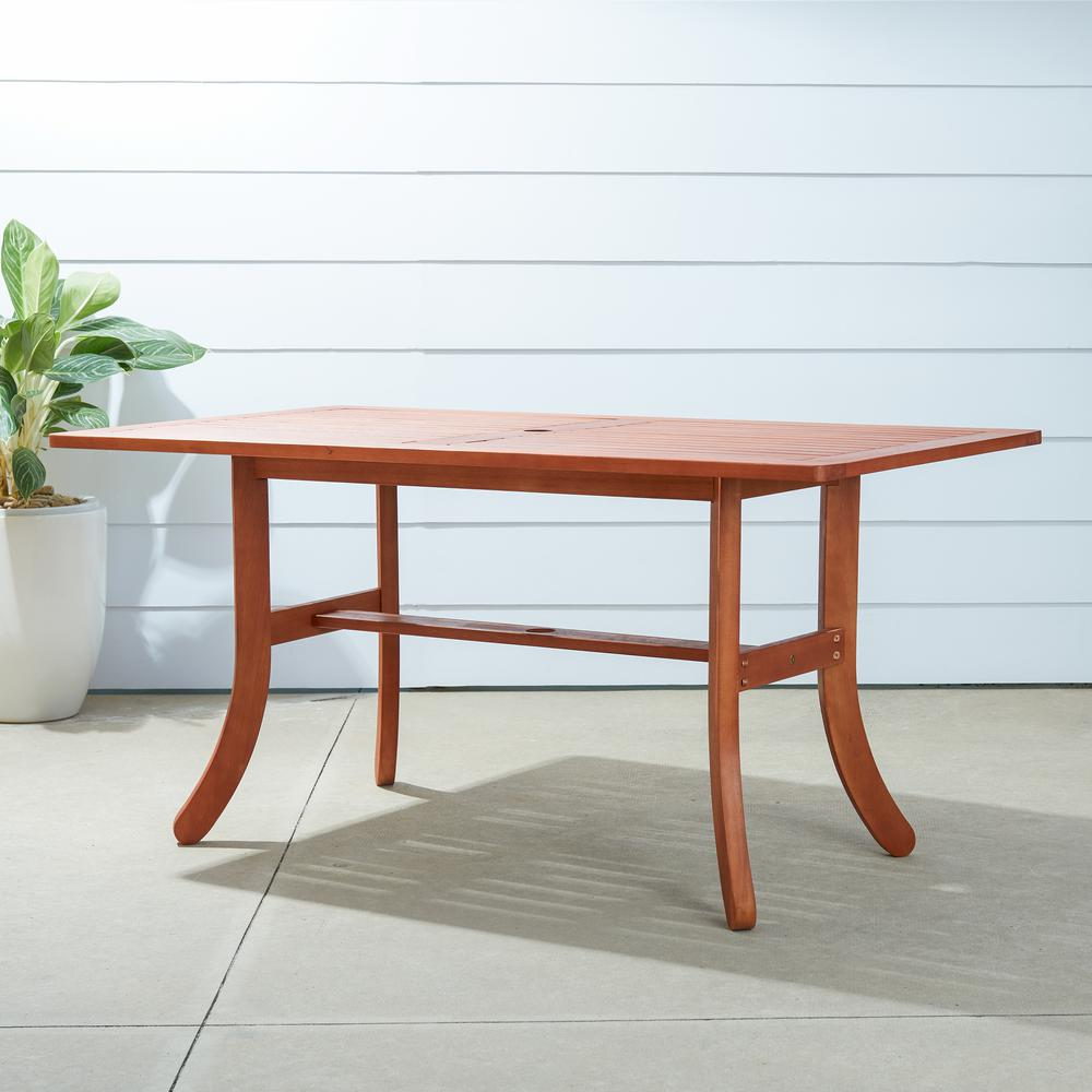 Vifah Malibu Rectangular Wood Outdoor Dining Table