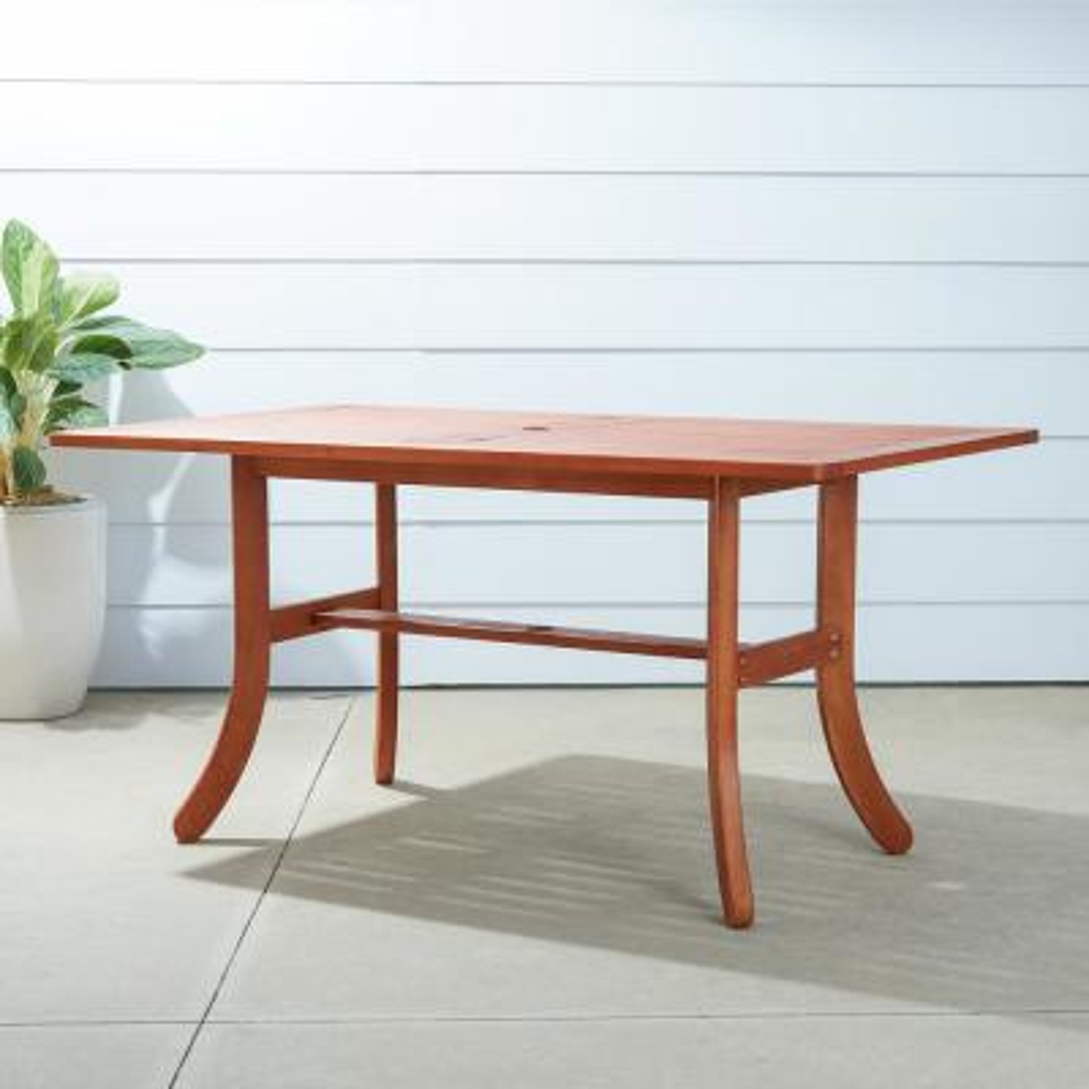 Malibu Rectangular Wood Outdoor Dining Table