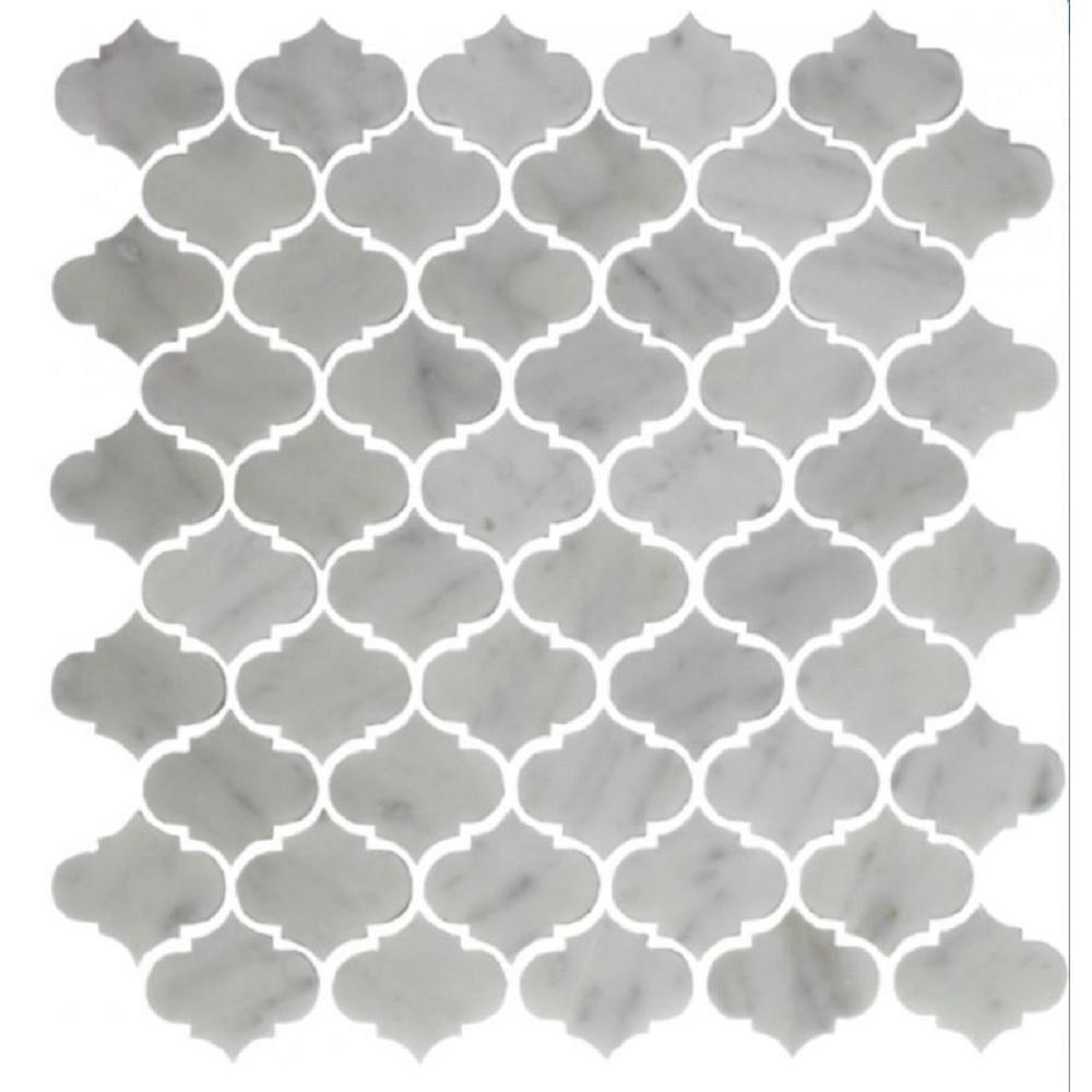 WallPOPs White Herringbone Carrara Peel Stick Backsplash