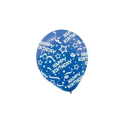 12 in. Bright Royal Blue Birthday Confetti Latex Balloons (9-Pack)