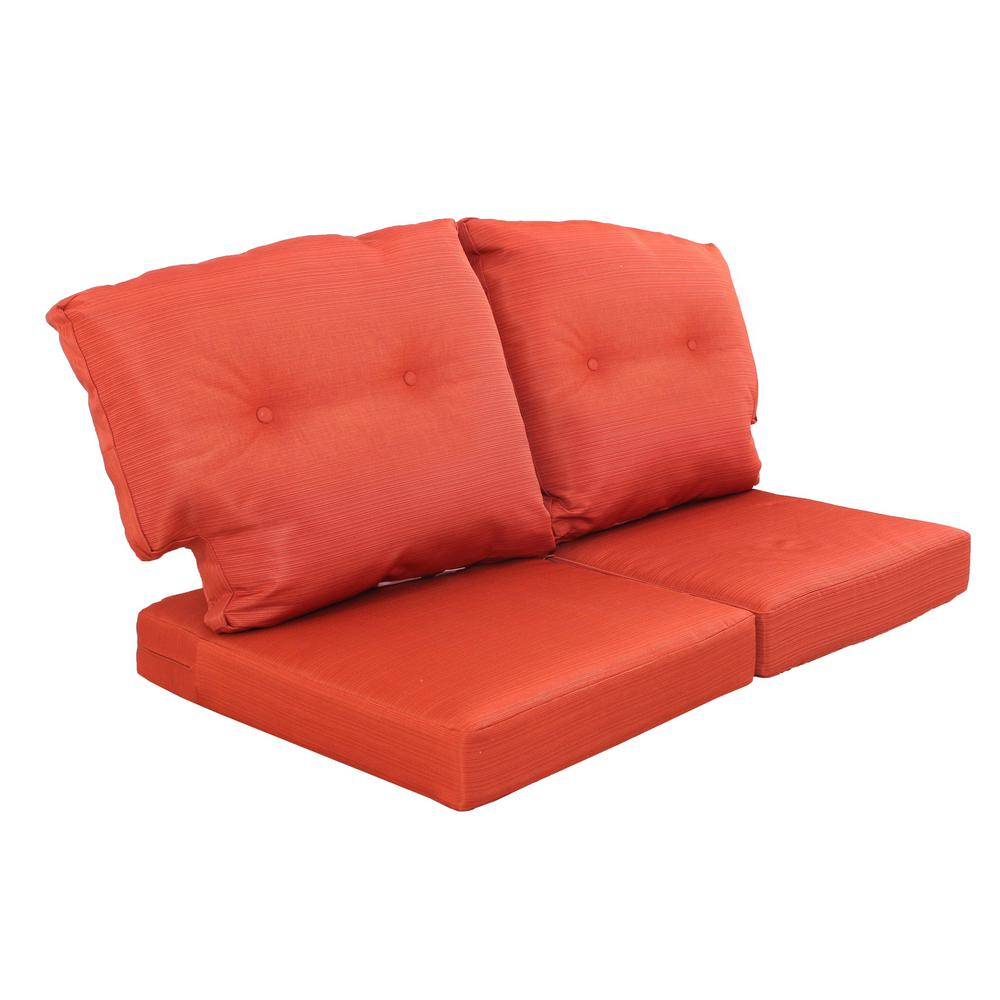 Martha Living Charlottetown Quarry Red Replacement Outdoor Loveseat Cushion