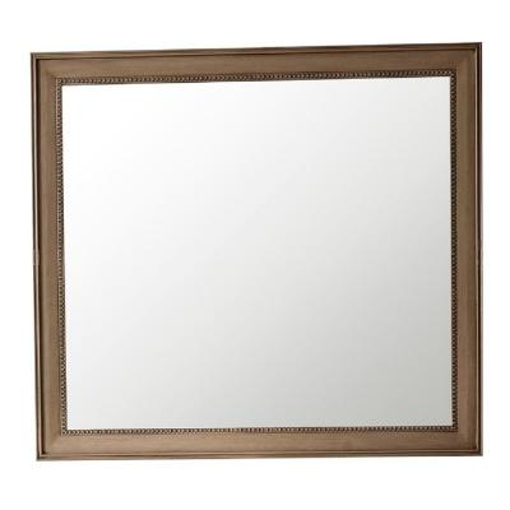 Bristol 44 in. W x 40 in. H Single Framed Wall Mirror in Whitewashed Walnut