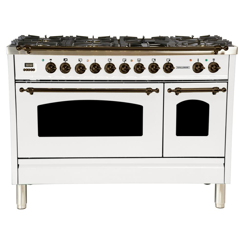 Hallman 48 in. 5.0 cu. ft. Double Oven Dual Fuel Italian Range with True Convection, 7 Burners, Griddle, Bronze Trim in White