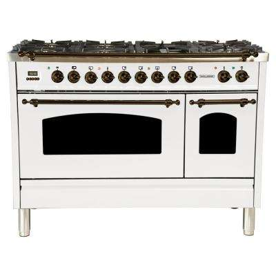 48 in. 5.0 cu. ft. Double Oven Dual Fuel Italian Range with True Convection, 7 Burners, Griddle, Bronze Trim in White