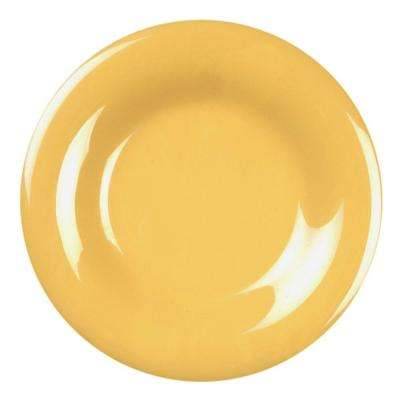 Coleur 9-1/4 in. Wide Rim Plate in Yellow (12-Piece)