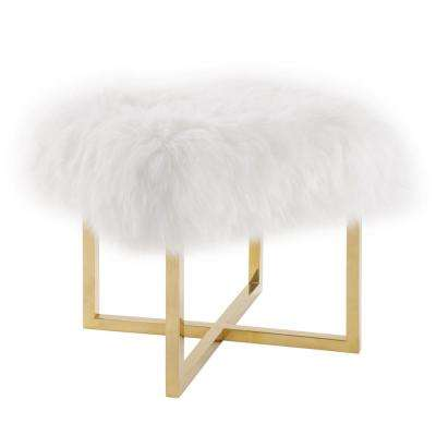 Nomo White and Gold Sheepskin Bench