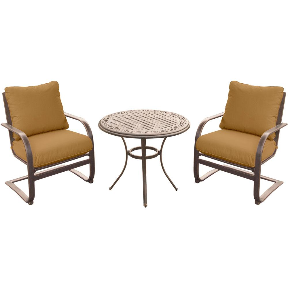 3 Piece Outdoor Bistro Set With Aluminum Spring Chairs And Round Cast Top